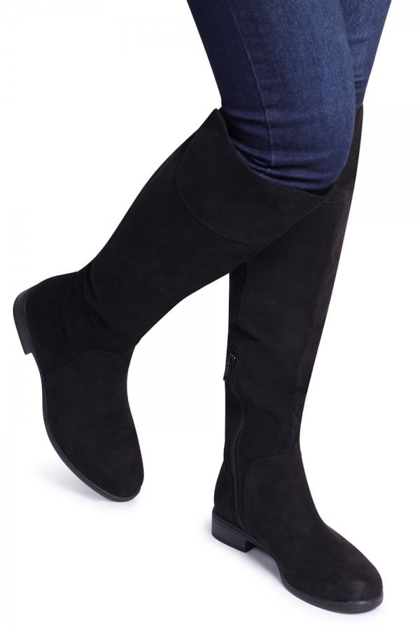 e81ca387099 Linzi SUZANNE - Black Suede Flat Knee High Boot - Linzi from Little ...