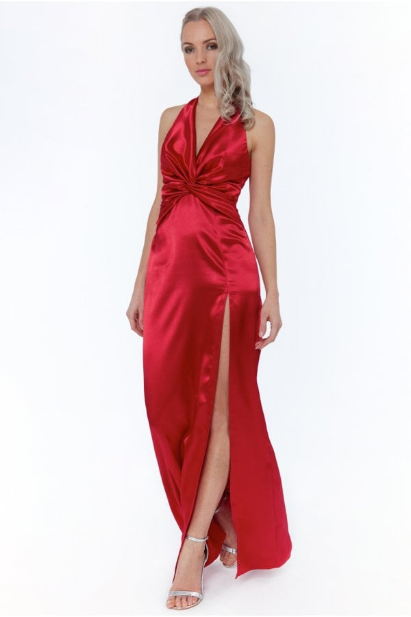 Goddiva Red Sequin Open Back Cocktail Evening Dress Prom Party Formal