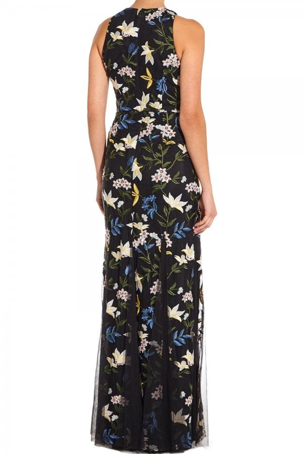 fd020d0986 ... Adrianna Papell Blue And Yellow Sequin Embroidery Maxi Dressclass  ...