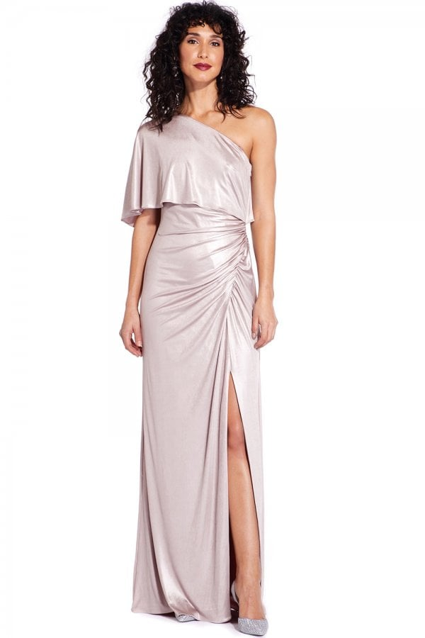 Dusted Petal Metallic Draped Gown
