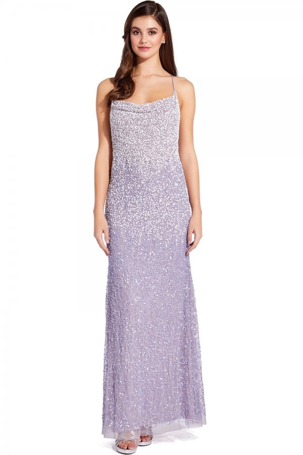 Lilac Grey Beaded Maxi Dress