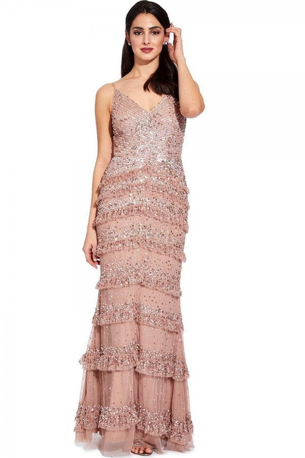 83b5a061 Adrianna Papell Rose Gold Bead Mesh Maxi Dress - Adrianna Papell ...