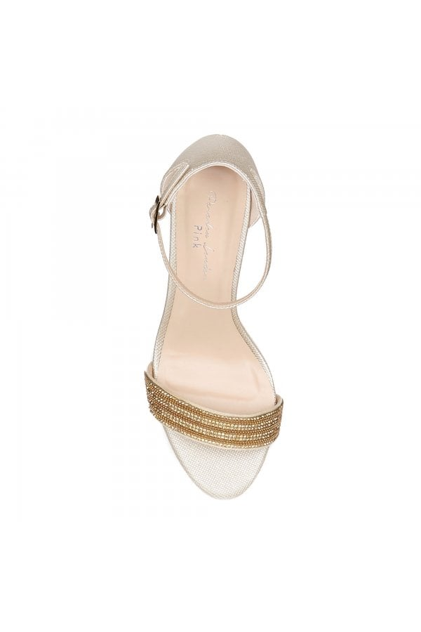 d0fee12fefb5 ... Paradox London Hilma Wide Fit Champagne Low Heel Barely There  Sandalsclass= ...