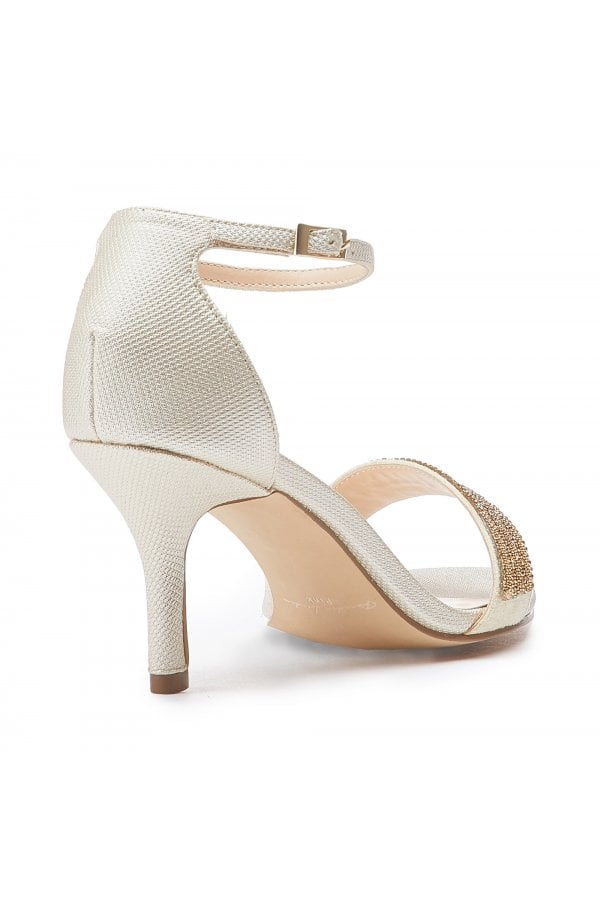 6345b3f80d27 Paradox London Hilma Wide Fit Champagne Low Heel Barely There Sandalsclass=  ...