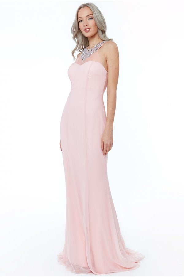 699d13f502e3 Goddiva Blush High Neck Embellished Maxi Dress - Goddiva from Little ...
