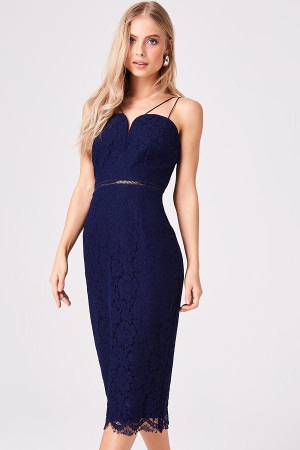 Midas Touch Navy Lace Sweetheart Midi Dress