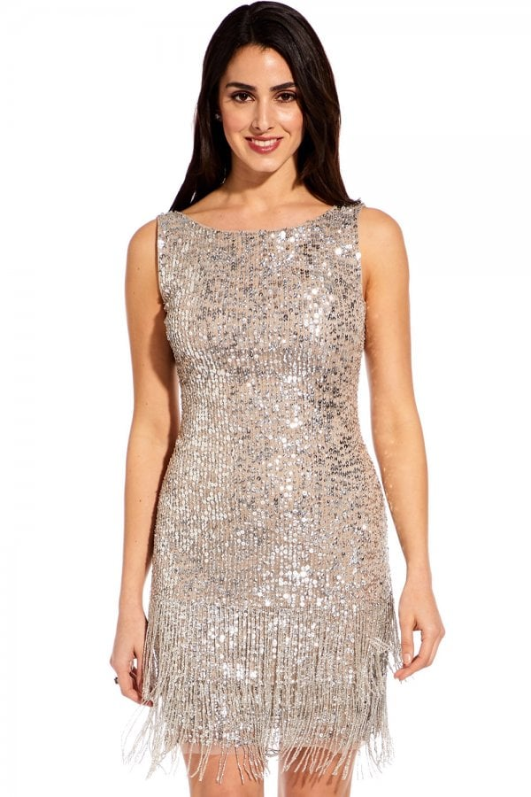 Silver Beaded Mini Dress