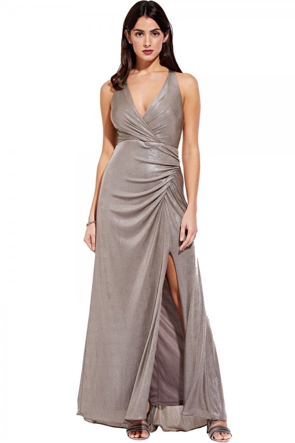 da2ebc5765d7 Adrianna Papell Mink Metallic Jersey Dress - Adrianna Papell from ...