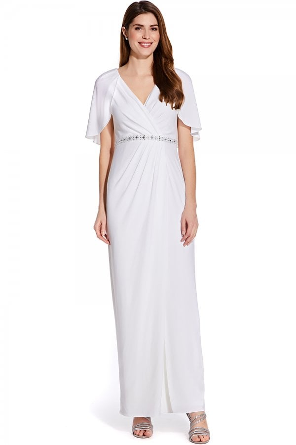 06fc8b55f122 Adrianna Papell Ivory Long Draped Jersey Dress - Adrianna Papell ...