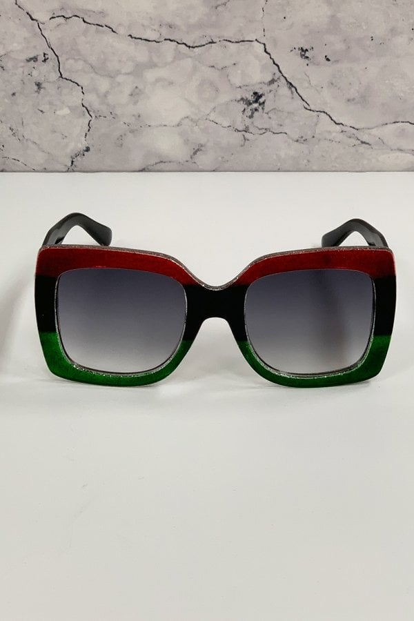 Harlow Red And Green Large Square Trend Sunglasses