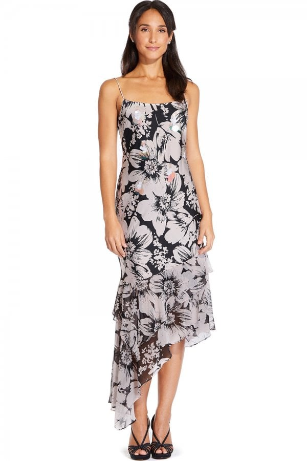 Multi Bias Cut Floral Printed Midi Dress