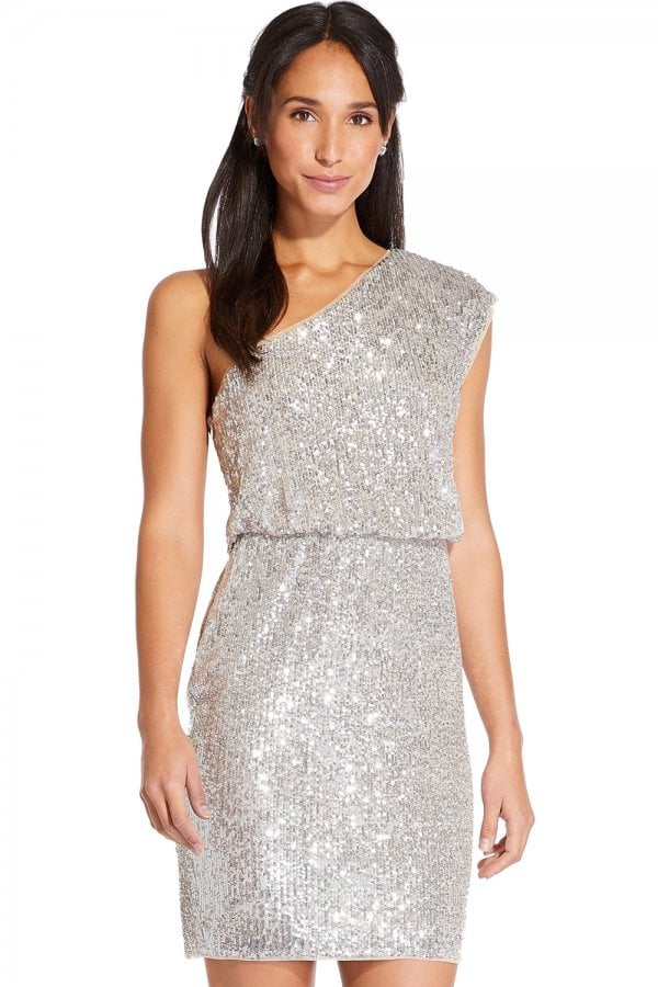 4c5c4568624 Adrianna Papell Silver One Shoulder Sequin Dress - Adrianna Papell ...