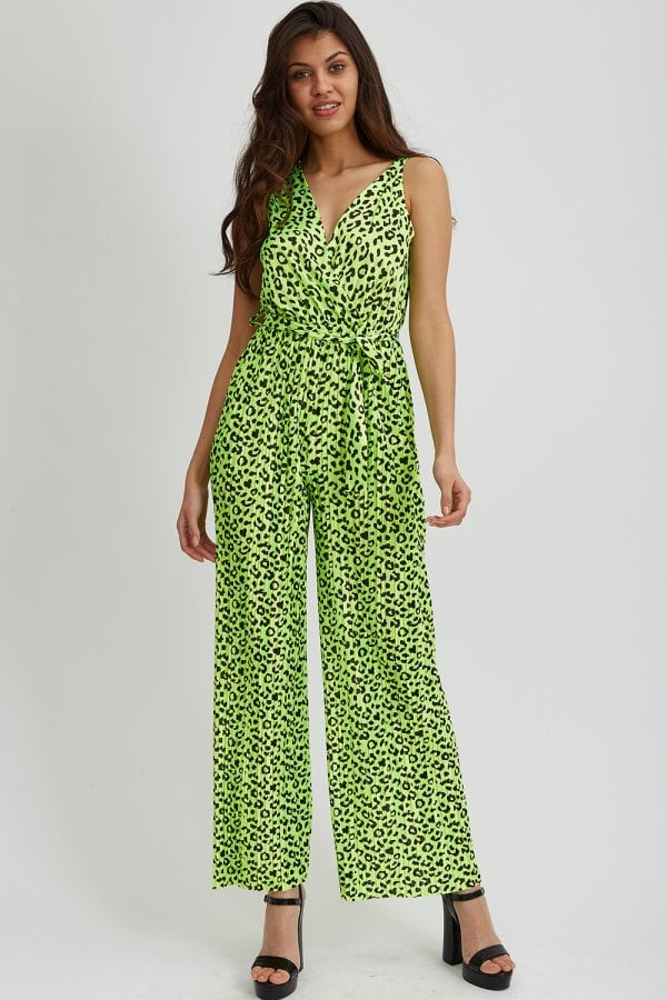 8c3e9b3748f Liquorish Green Animal Print Jumpsuit