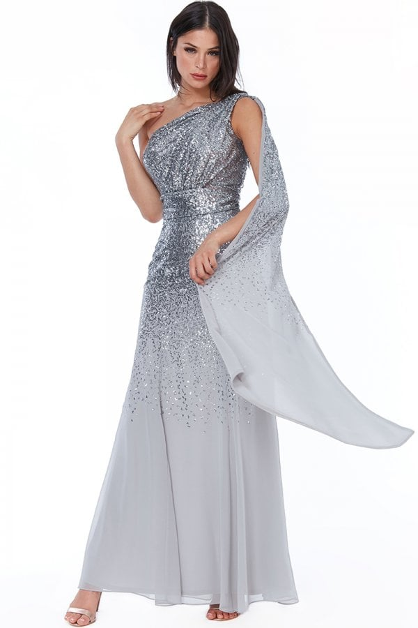 Silver One Shoulder Sequin & Chiffon Maxi Dress