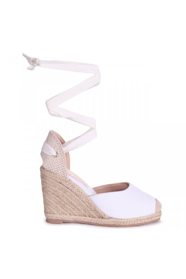 Linzi Meghan White Canvas Closed Toe Espadrille Wedge With Tie Up Straps Linzi From Little Mistress Uk