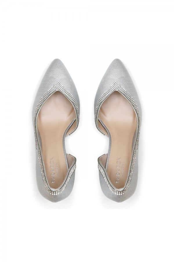 Paradox London Page Silver Low Heel Open Court Shoes