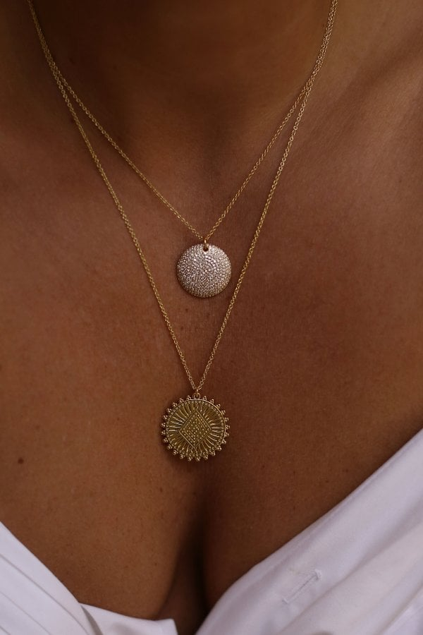 Gold Plated CZ & Coin Layering Necklaces