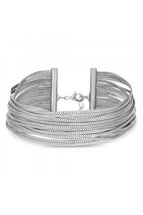Silver Plated Slinky Multirow Bracelet