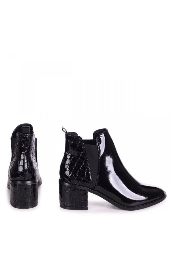 Croc Pull On Block Heeled Ankle Boot