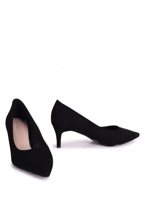 Black Suede Classic Court Shoe With Low