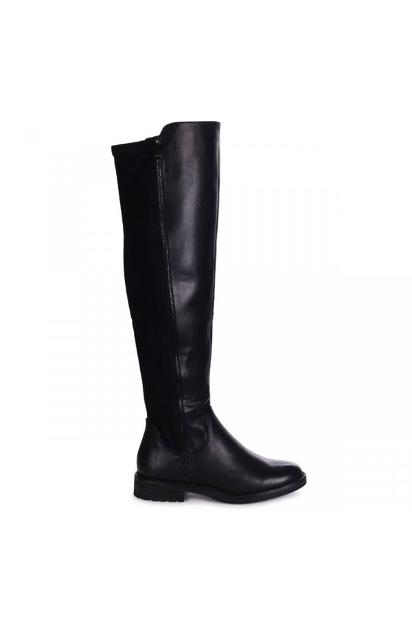 ADORE - Black Nappa & Suede Over The Knee Boot With False Zip Detail