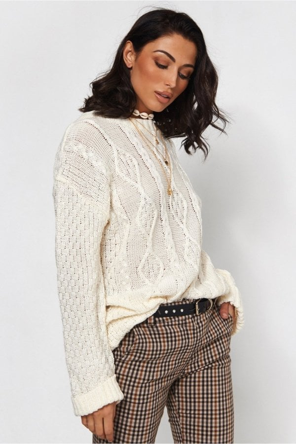 The Fashion Bible White Cable Knit Jumper