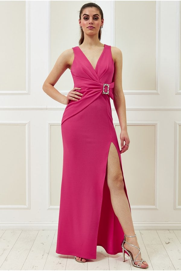 Vicky Pattison Cerise Buckle Front Maxi Dress