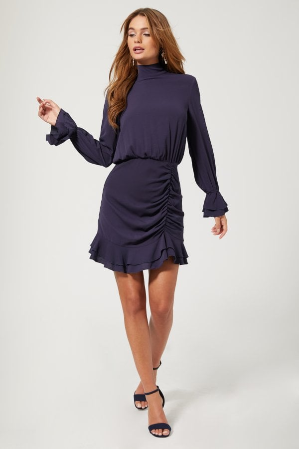 Outrageous Fortune Reilly Navy Tie Back Ruched Mini Dress
