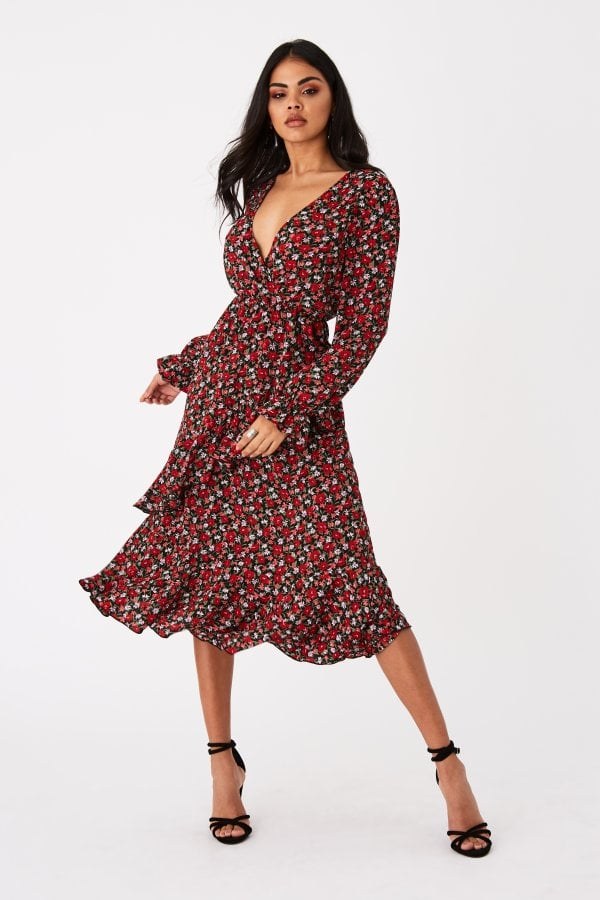 Harmony Red Ditsy Floral-Print Frill Midi Dress