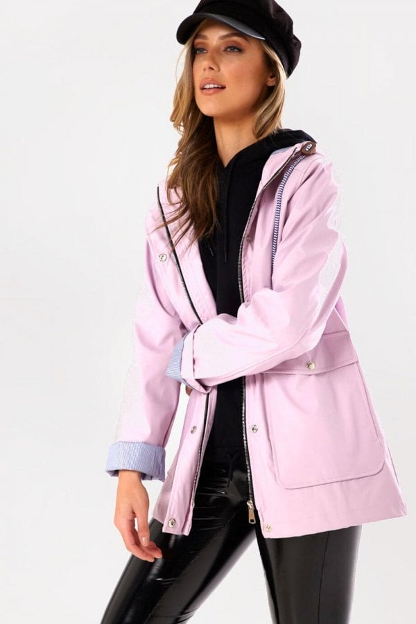 Lilly Stripe Lined Raincoat in Lilac