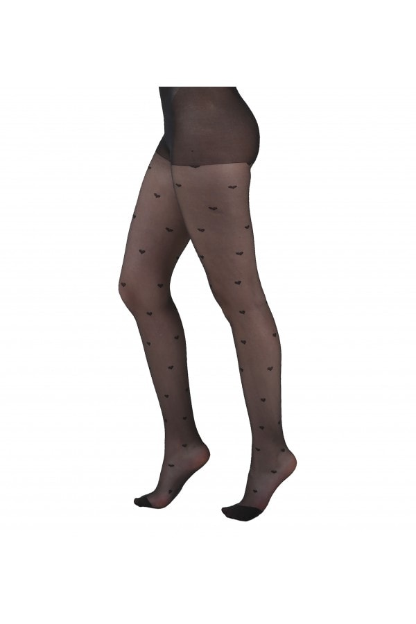 Pamela Mann All Over Heart Sheer Tights size: One Size, colour: Black