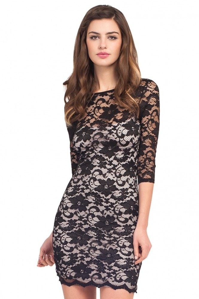 Little Mistress Black Lace Two Tone Keyhole Back Dress