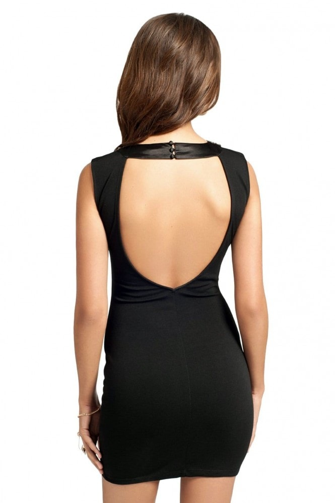 Black Embellished Collar Bodycon Dress