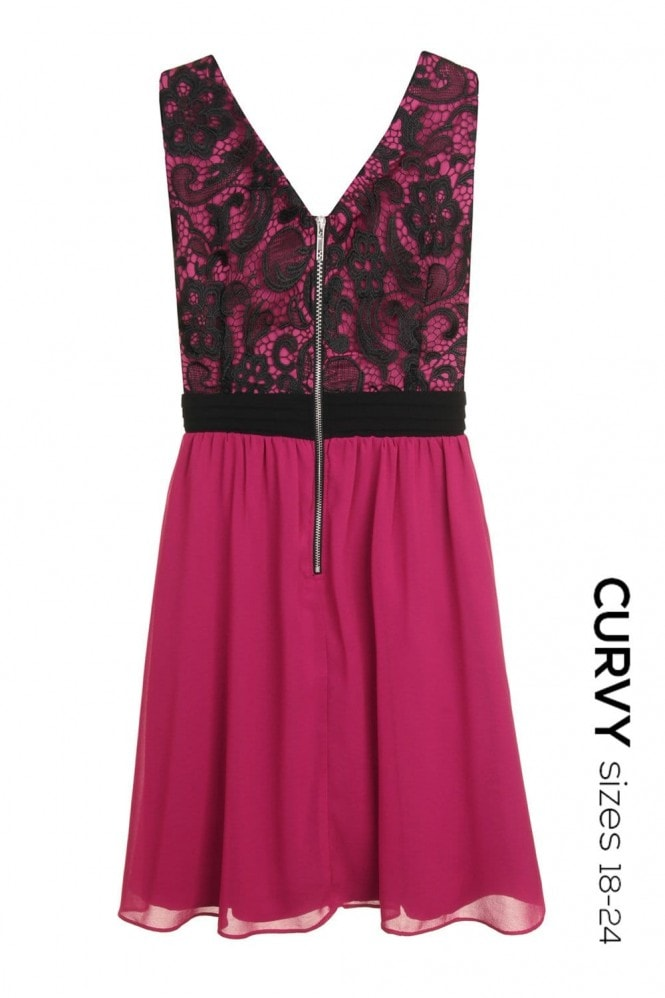 Little Mistress Curvy Curvy Raspberry and Black Exclusive Lace Body Skater Dress