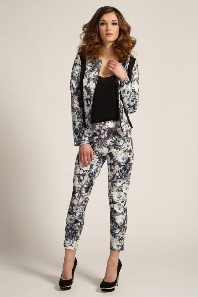 Outlet Paper Dolls Floral Multi Colour Tapered Skinny Trousers