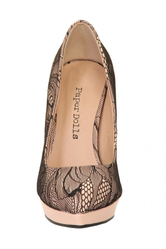 Outlet Paper Dolls Nude & Black Lace Overlay Patent Court Heel