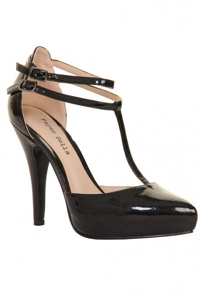 Outlet Paper Dolls Black Metallic T Bar Court Heel
