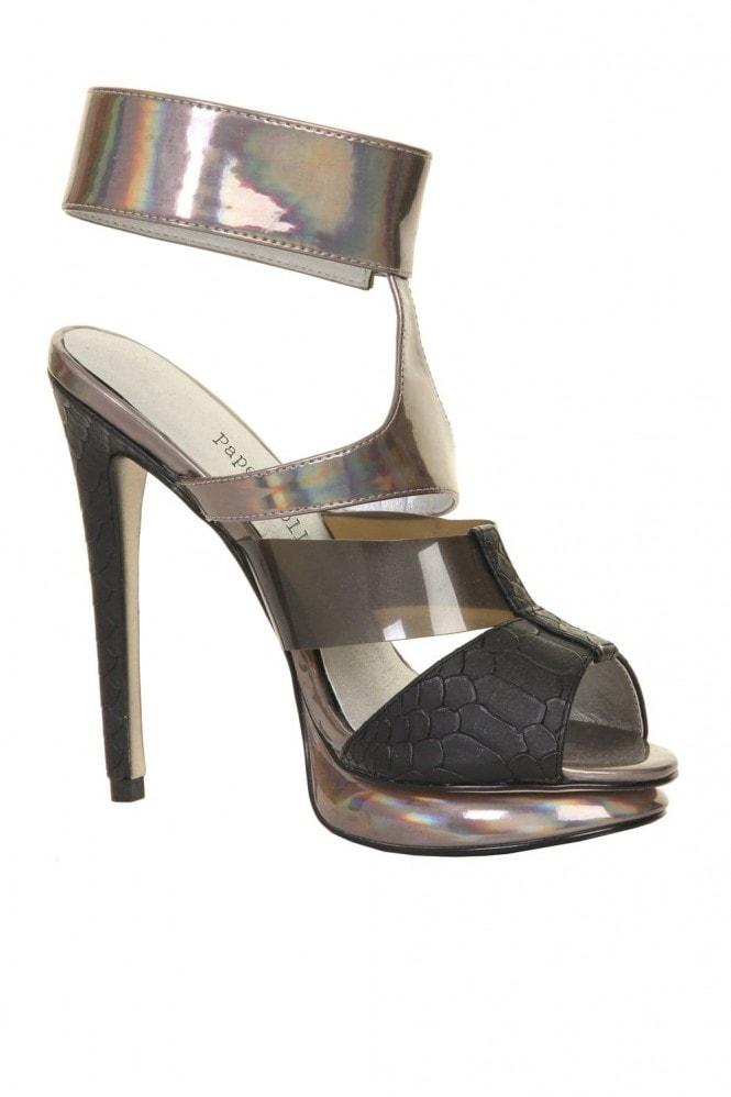 Outlet Paper Dolls Black & Metallic Ankle Strap Platform Heel