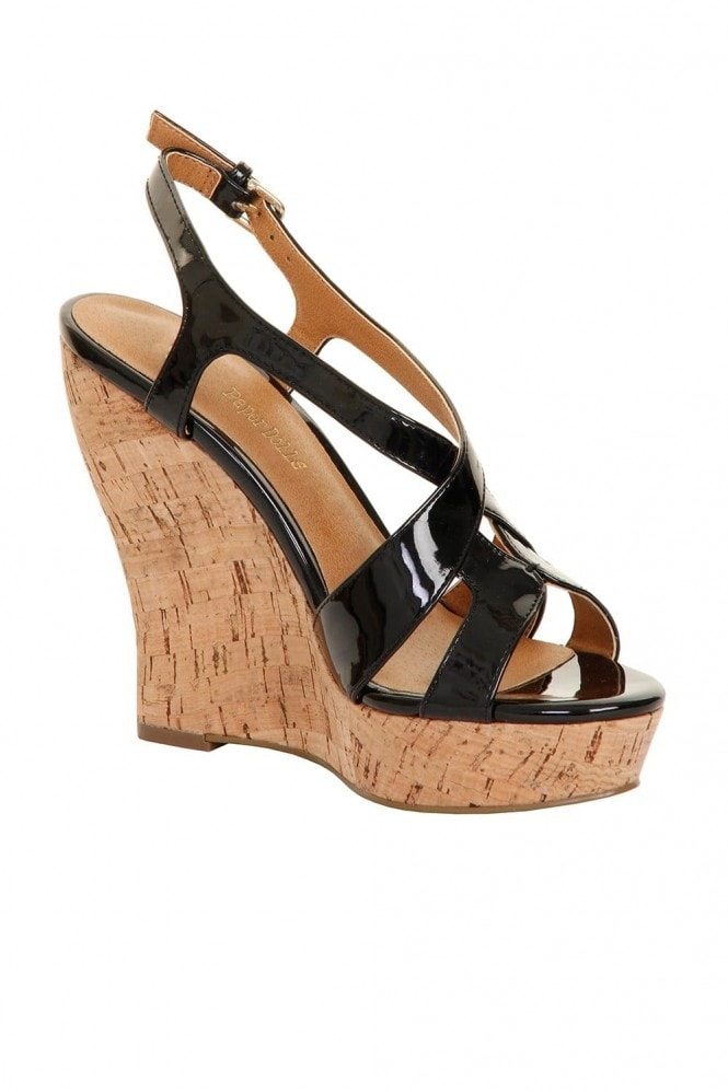 Outlet Paper Dolls Black Patent Cork Wedges