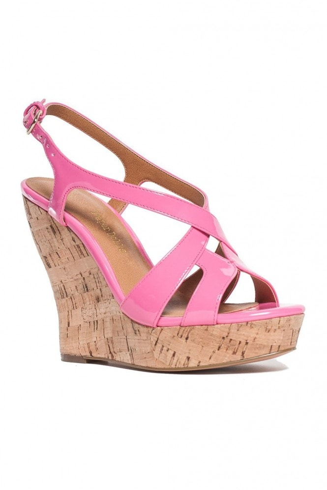 Outlet Paper Dolls Bubblegum Patent Cork Wedges