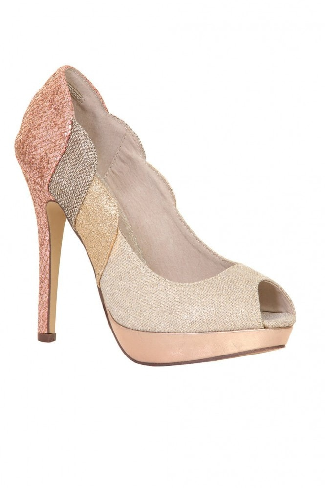 Outlet Paper Dolls Nude & Metallic Glitter Scallop Edge Platform Heel