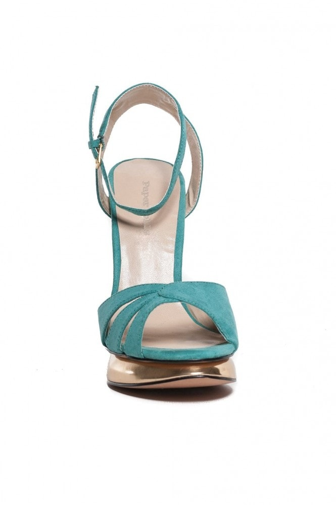Outlet Paper Dolls Turquoise Suede Peep Toe Gold Heeled Sandal