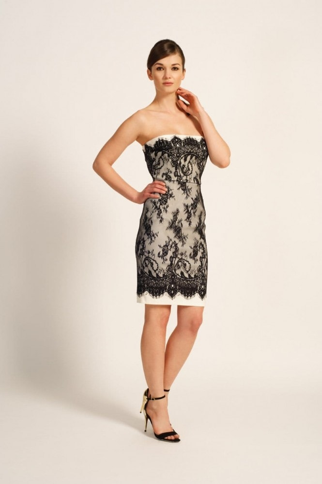 Paper Dolls Black & Cream Lace Overlay Bandeau Dress