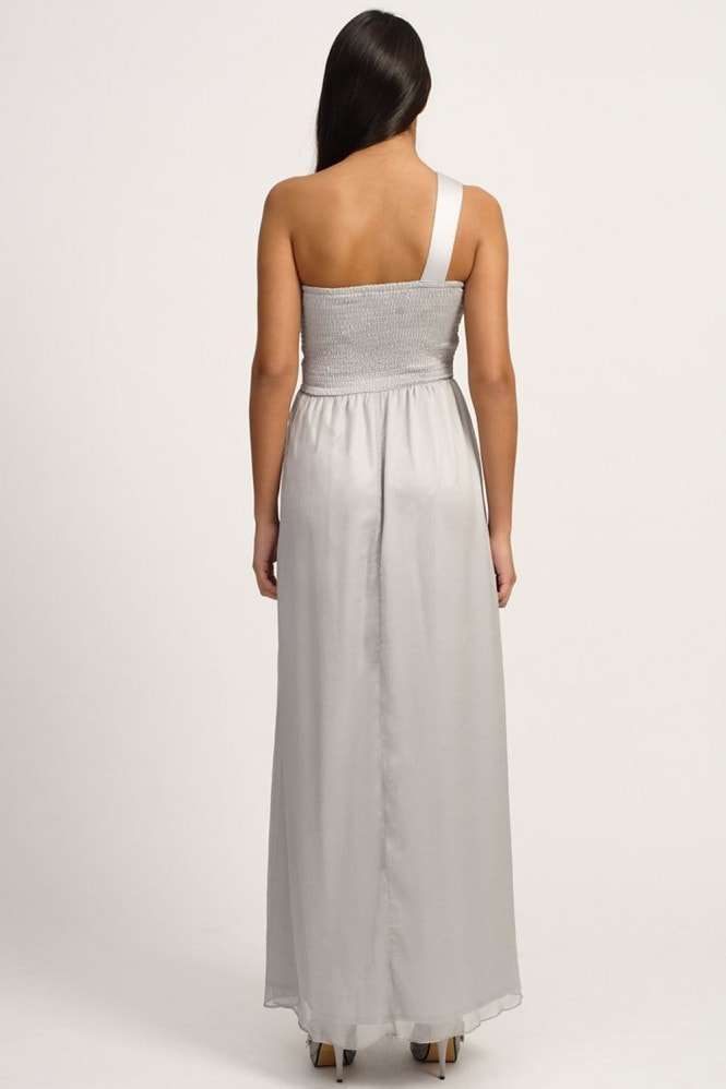 Little Mistress Grey Embellished One Shoulder Maxi Dress