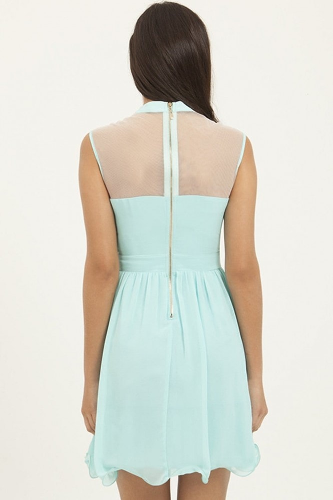 Little Mistress Seafoam Floral Mesh Party Dress