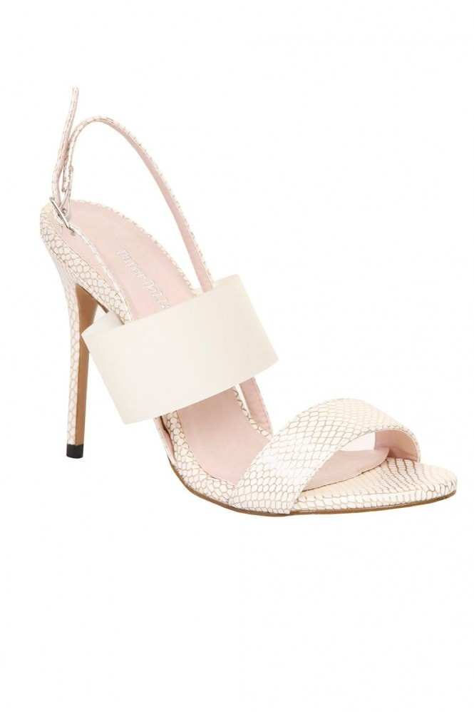 Outlet Paper Dolls White Snakeskin Sling Back Stilleto Heel