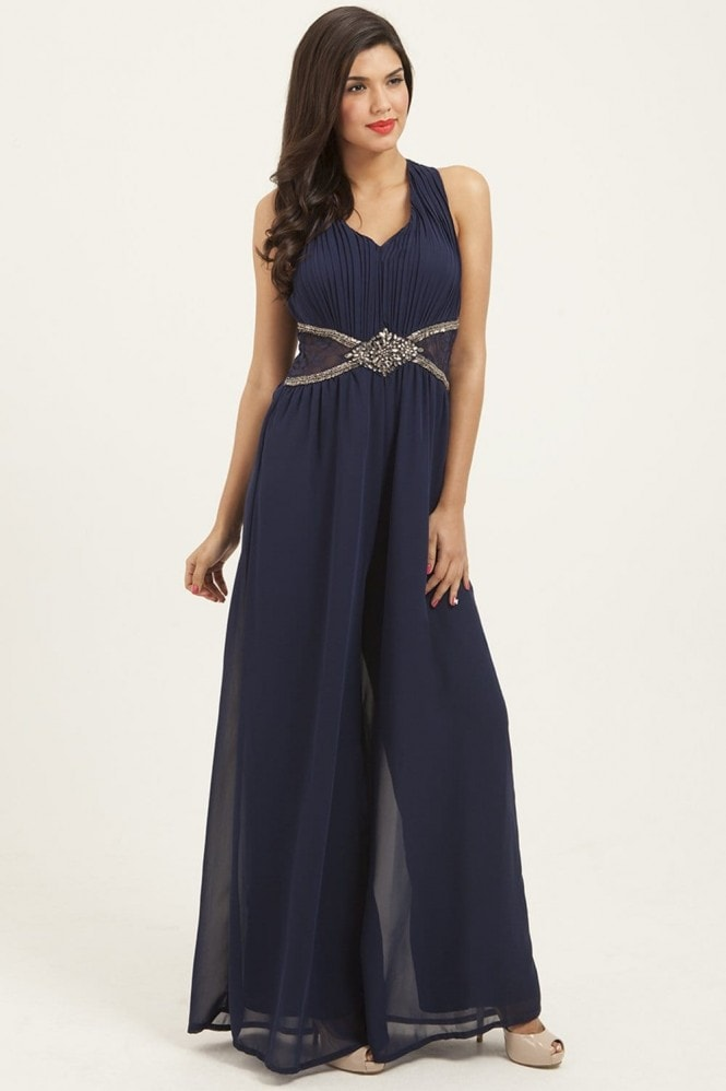 Little Mistress Navy Embellished Cross Back Jumpsuit
