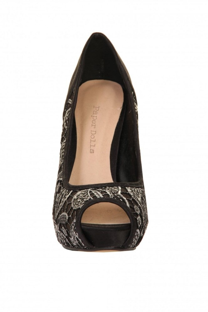 Outlet Paper Dolls Black & Silver Lace Overlay Peep Toe Court