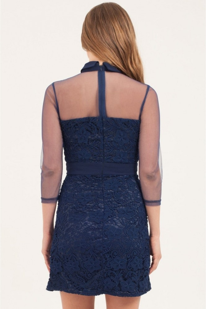Little Mistress Navy Lace Overlay Mesh Shift Dress