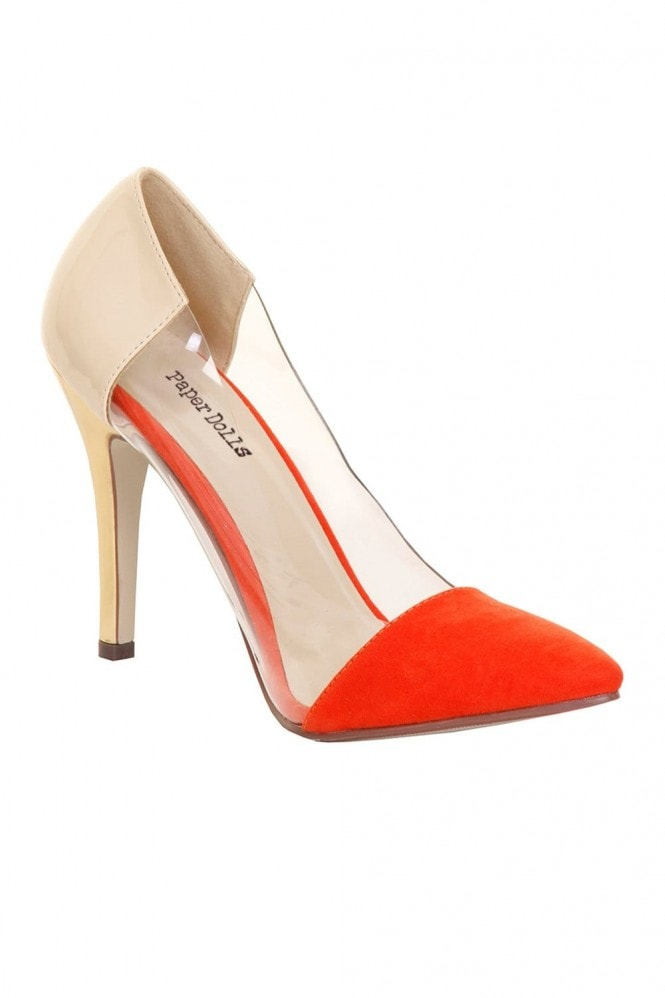 Outlet Paper Dolls Red & Cream Perspex Court Heel